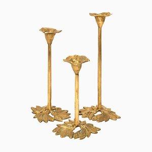 Mid-Century Kerzenständer aus Messing, 3er Set