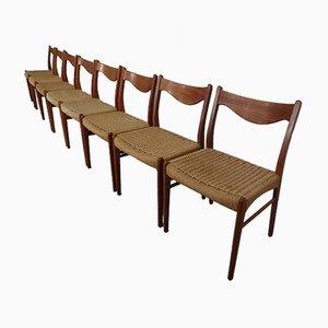 Teak & Paper Cord Dining Chairs by Ejner Larsen for Glyngore Stolefabrik, 1960s, Set of 8