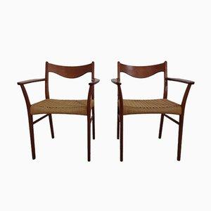 Esszimmerstühle aus Teak & Papierkordelgeflecht von Ejner Larsen für Glyngore Stolefabrik, 1960er, 2er Set