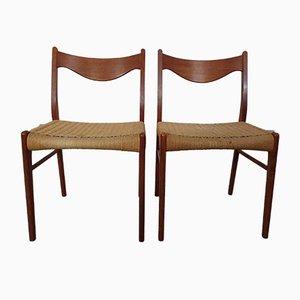 Chaises de Salle à Manger en Teck et Corde en Papier par Ejner Larsen pour Glyngore Stolefabrik, 1960s, Set de 2