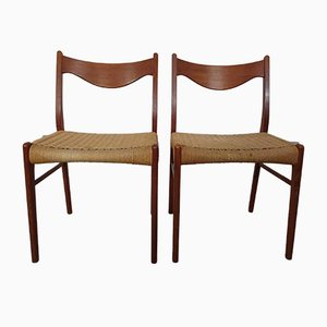 Teak & Paper Cord Dining Chairs by Ejner Larsen for Glyngore Stolefabrik, 1960s, Set of 2