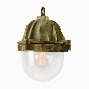 French Cast Iron and Glass Pendant Lamp, 1950s