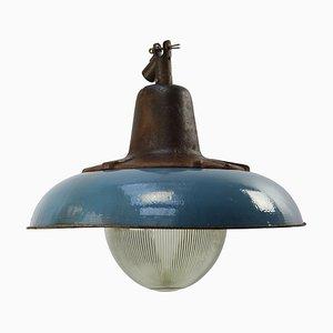 Mid-Century Enamel, Cast Iron, and Holophane Glass Pendant Lamp