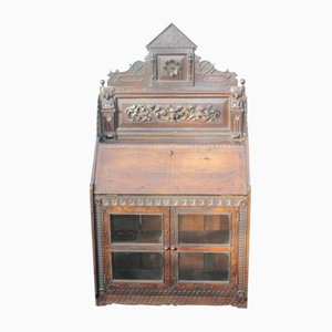 Antique Carved Oak Upper Cabinet