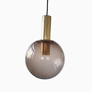 Deutsche Vintage Deckenlampe aus Glas & Messing von Limburg, 1960er