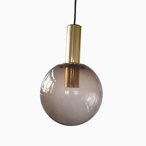 Vintage German Glass & Brass Ceiling Lamp from Limburg, 1960s