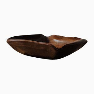 French Sculptural Free-Form Wood Bowl, 1950s
