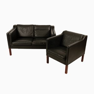 Danish Model Eton Leather Sofa and Chair by Erik Marquardsen & Takashi Okamura for Skipper, 1980s, Set of 2