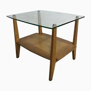 Table Basse Triangulaire Vintage en Chêne et Verre