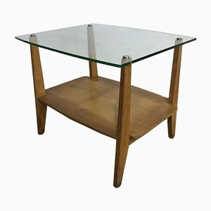 Vintage Oak and Glass Triangular Low Coffee Table