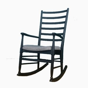 Danish Ladder-Back Matte Black Rocking Chair, 1960s