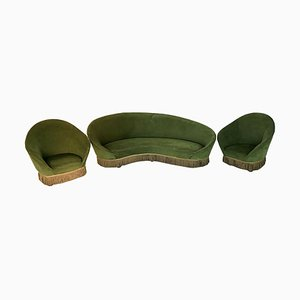 Green Velvet Sofa and Side Chairs by Federico Munari, 1950s, Set of 3