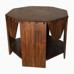 Französischer Vintage Art Déco Tisch aus Eiche & Bronze