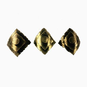 Brutalist Brass Sconces by Svend Aage Holm Sørensen for Holm Sørensen & Co, 1960s, Set of 3