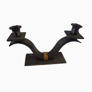 Wrought Iron and Brass Candleholders, 1930s, Set of 2