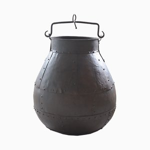 Antique Medieval Style Riveted Steel Cauldron