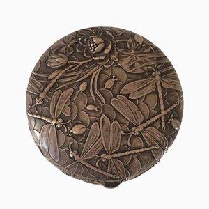 Boîte Jugendstil Antique en Bronze Plaqué Argent de Louchet Ciseleur