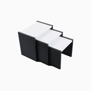 Dutch Black and White Nesting Tables by Cees Braakman for Pastoe, 1970s, Set of 3