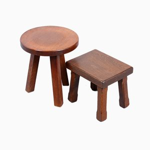 Oak Side Tables, 1950s, Set of 2