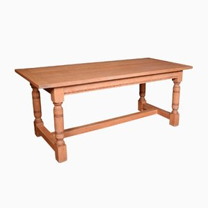 Mesa de comedor antigua de roble encalado con tablero repisa