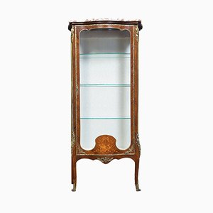 Antiker Vitrinenschrank aus Veilchenholz mit Intarsien & geschwungener Front