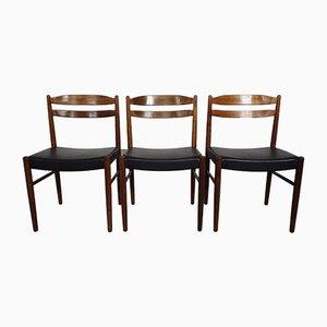 Chaises d'Appoint en Palissandre par Carl Ekström pour Albin Johansson & Söner, Suède, 1960s, Set de 3