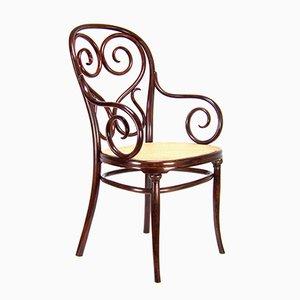 Nr. 4 Armlehnstuhl mit Wiener Sitzgeflecht von Thonet, 1870er