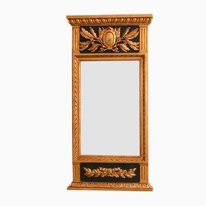 Antiker gustavianischer Spiegel mit Holzrahmen & Medaillon