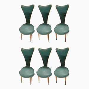 Chaises de Salle à Manger en Simili Cuir par Umberto Mascagni, 1950s, Set de 6