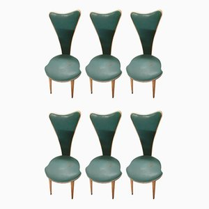 Esszimmerstühle mit Kunstlederbezügen von Umberto Mascagni, 1950er, 6er Set