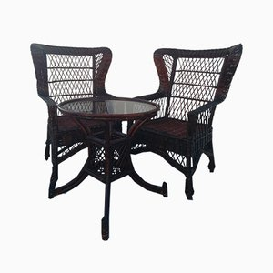 Mid-Century Rattan Lounge Chairs, Set of 3