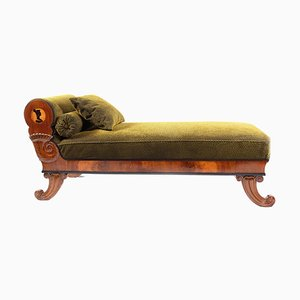 Antique Austrian Biedermeier Walnut Veneered Chaise Lounge