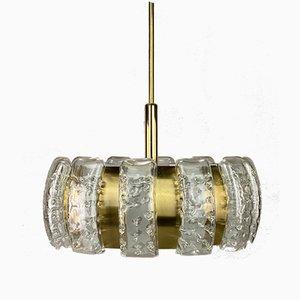 Lámpara de araña de latón y vidrio de Doria, años 60