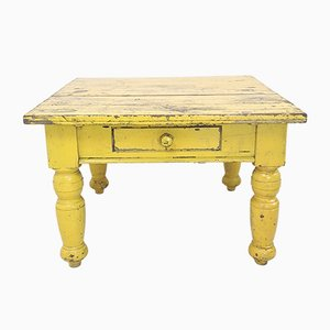 Antique Yellow Painted Pine Dining Table