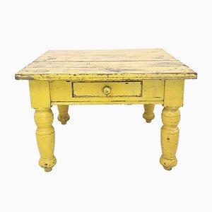 Table de Salle à Manger Antique en Pin Peint en Jaune