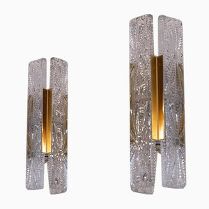 Glass and Brass Sconces, 1960s, Set of 2