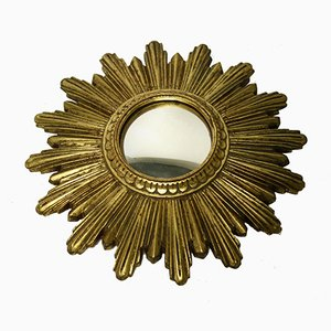 Small French Golden Sunburst Mirror, 1960s