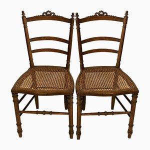 Antike Louis XVI Beistellstühle mit Sitzgeflecht, 2er Set