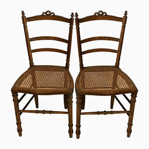 Antique Louis XVI Cane Side Chairs, Set of 2
