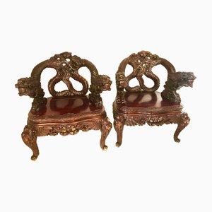 Chinese Mahogany Armchairs, 1920s, Set of 2