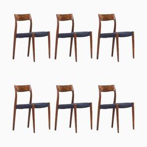 77 Esszimmerstühle aus Palisander von Niels Otto Møller für J.L. Møllers, 1960er, 6er Set
