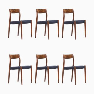 Rosewood 77 Dining Chairs by Niels Otto Møller for J.L. Møllers, 1960s, Set of 6