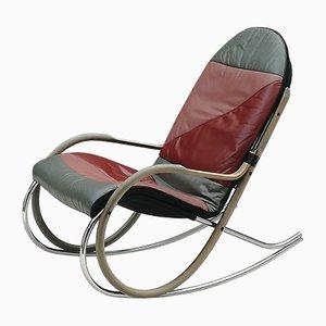 Rocking Chair Nonna en Acier, Bois et Cuir par Paul Tuttle pour Strässle, 1970s