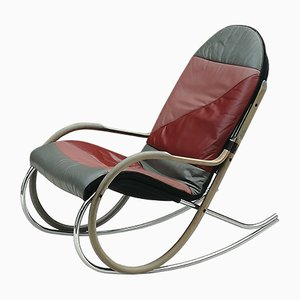Steel, Wood, and Leather Nonna Rocking Chair by Paul Tuttle for Strässle, 1970s