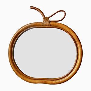 Espejo Apple de ratán, años 60