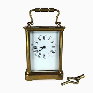 Antique Brass Pendola Cappuccina Officier Clock from Working Journey