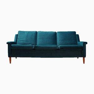 Vintage Danish Green Velour Sofa