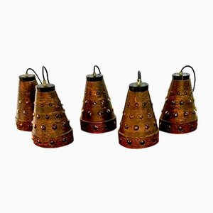 Brutalist Pendant Lamps by Nanny Still for Raak, 1970s, Set of 5