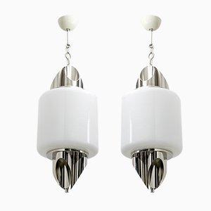 Italienische Mid-Century Deckenlampen aus Muranoglas & verchromtem Metall von Selenova, 1970er, 2er Set