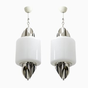 Mid-Century Italian Murano Glass and Chromed Metal Ceiling Lamps by Selenova, 1970s, Set of 2